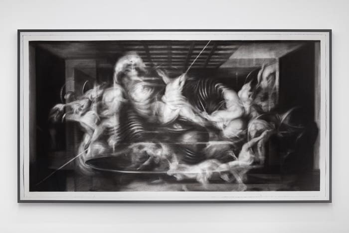 ProjectB, Hugo Wilson, Last Supper, 2017, Charcoal on paper, 283x155 cm