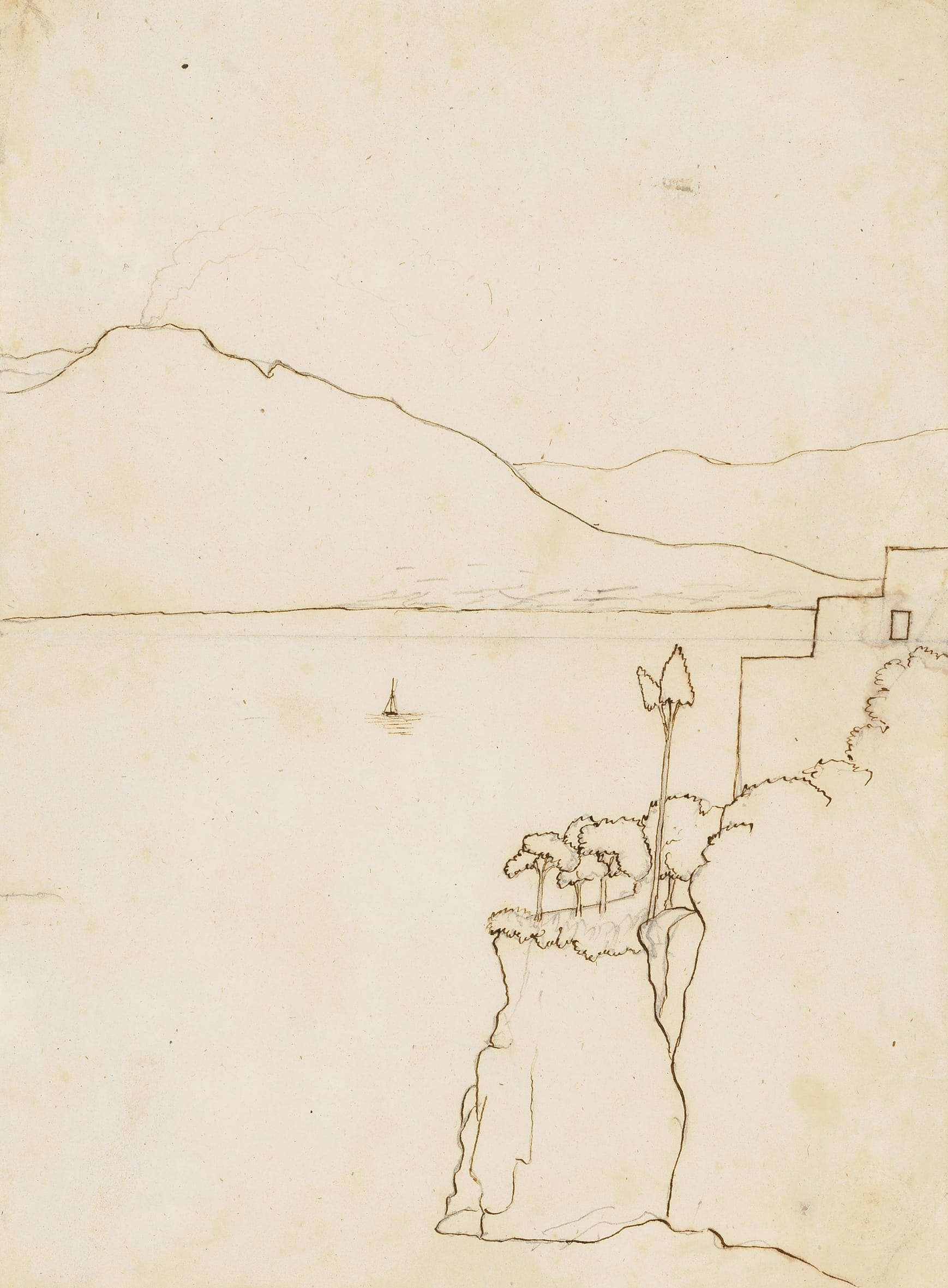 Hans Christian Andersen Der Vesuv, 1834 Feder, Bleistift Odense City Museums