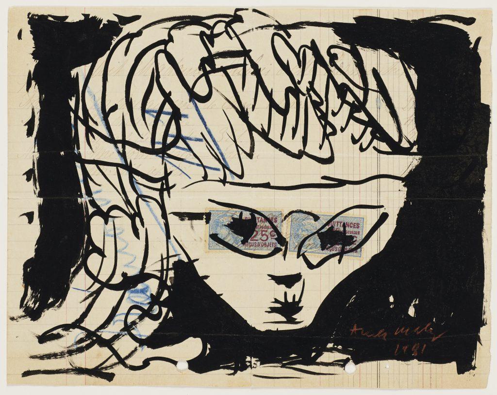Pierre Alechinsky Quittance bleue, 1981 Tusche auf Quittung Kunsthalle Bremen – Der Kunstverein in Bremen © VG Bild-Kunst, Bonn 2018