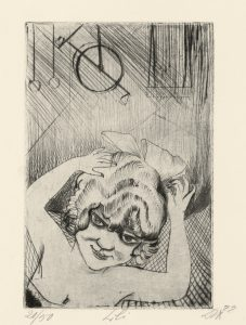 Otto Dix (1891 – 1969) Lili, the Queen of the Air (from Circus portfolio) 1922 Etching, drypoint on paper The George Economou Collection © The Estate of Otto Dix 2018