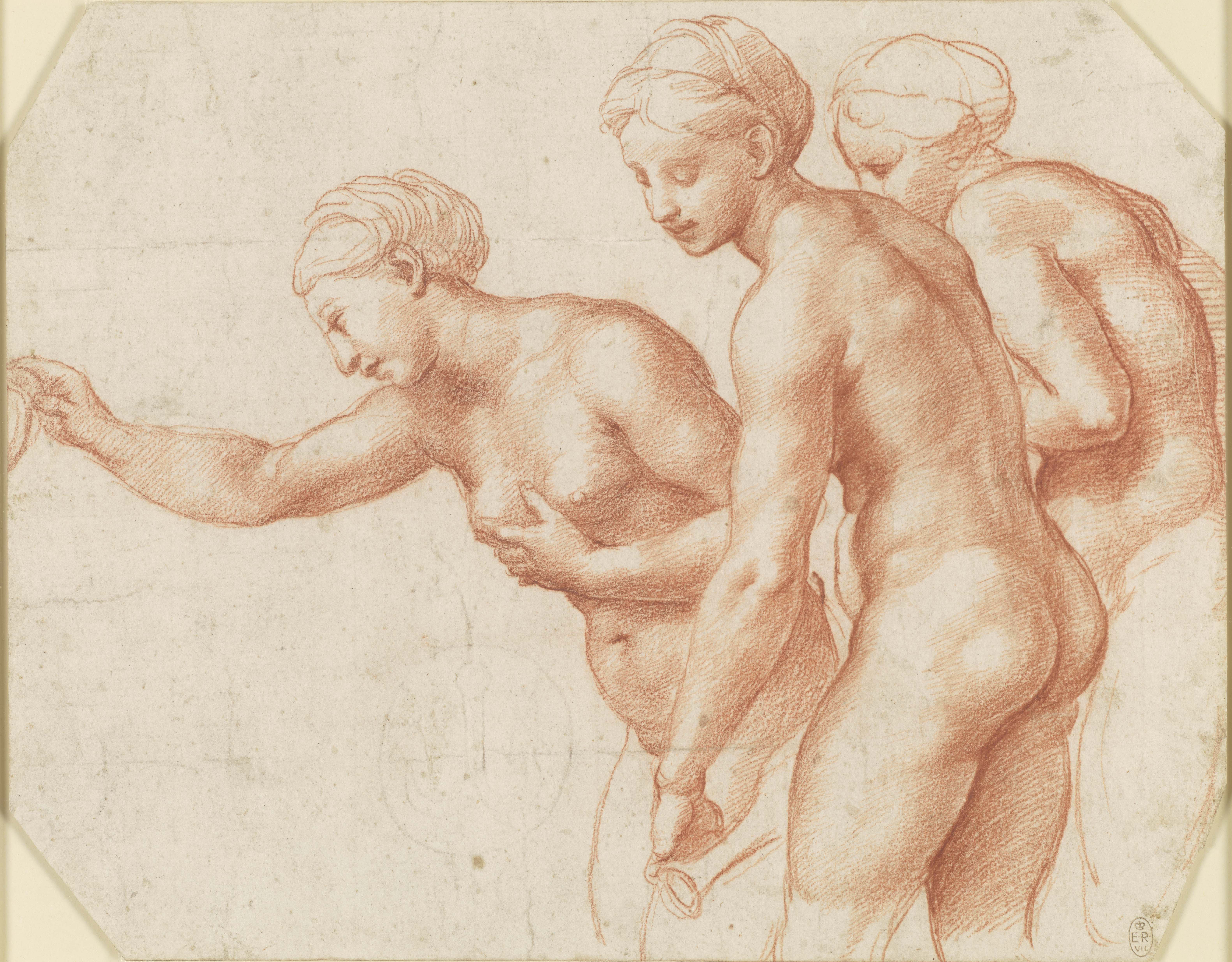 Raphael, The Three Graces, c. 1517-18. Red chalck on paper, 20.3 x 25.8 cm Royal Collection Trust / Her Majesty Queen Elisabeth II 2019
