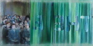 Karin Kneffel, Ohne Titel, 2013 Öl auf Leinwand, 110 x 210 cm Privatsammlung, Courtesy Schönewald, Düsseldorf © VG Bild-Kunst, Bonn 2019, Foto: Achim Kukulies