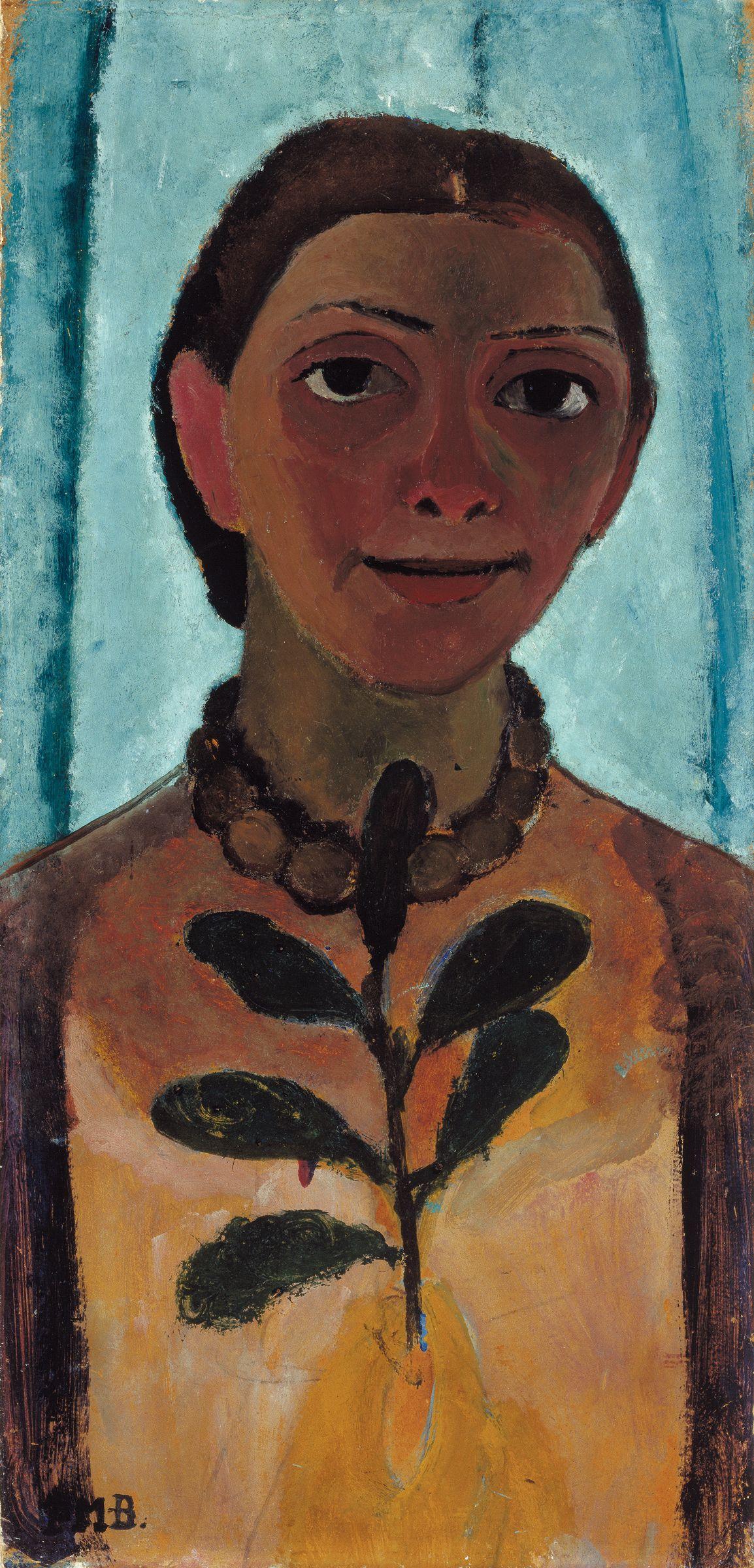 Paula Modersohn-Becker: Selbstbildnis mit Kamelienzweig, 1906/07, Öltempera auf Pappe, 61,5 x 30,5 cm, Museum Folkwang, Essen