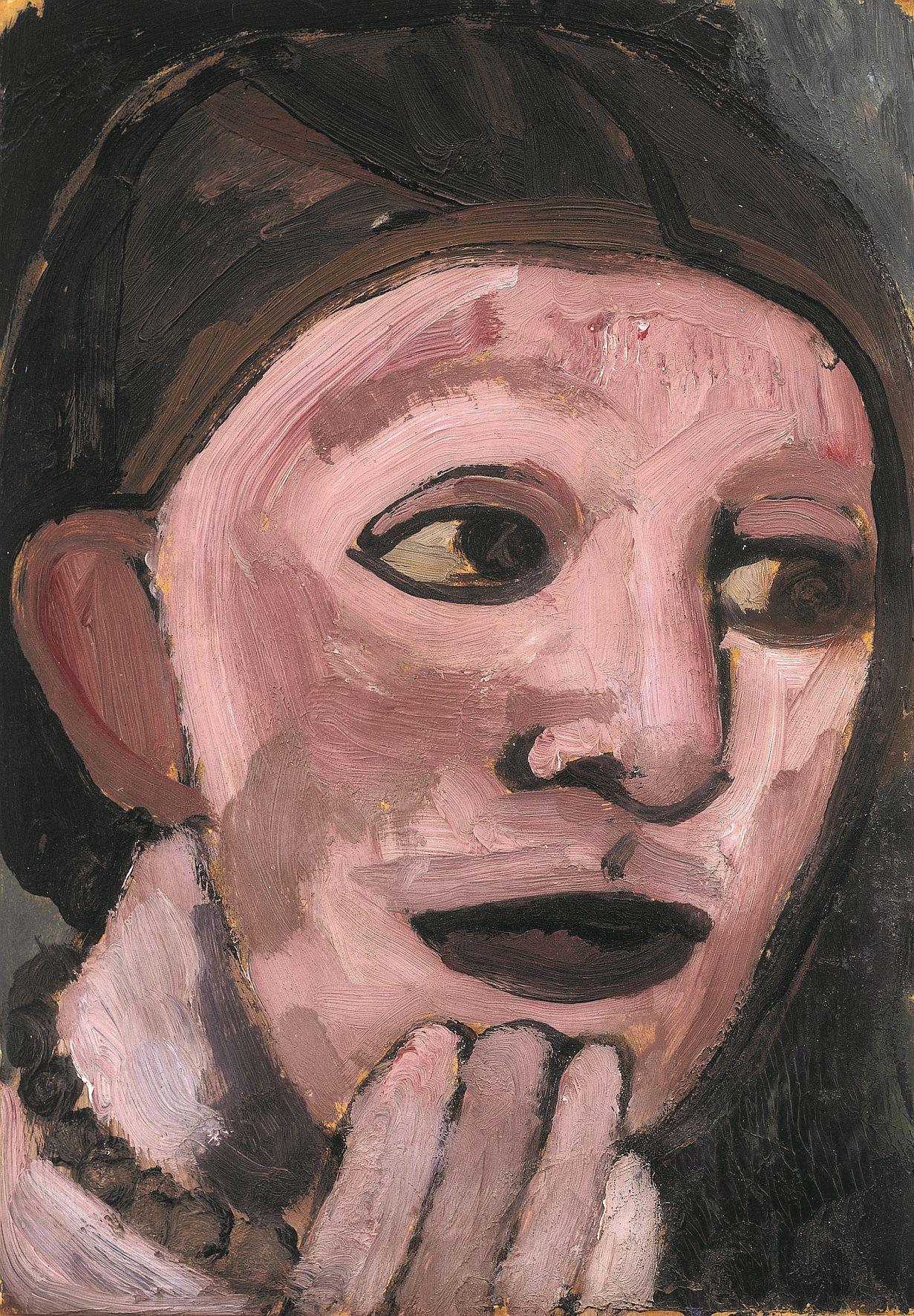 Paula Modersohn-Becker, Selbstbildnis nach halbrechts, die Hand am Kinn, Sommer 1906, Öltempera auf Papier auf Pappe, 27 x 18,7 cm, Privatbesitz Dortmund