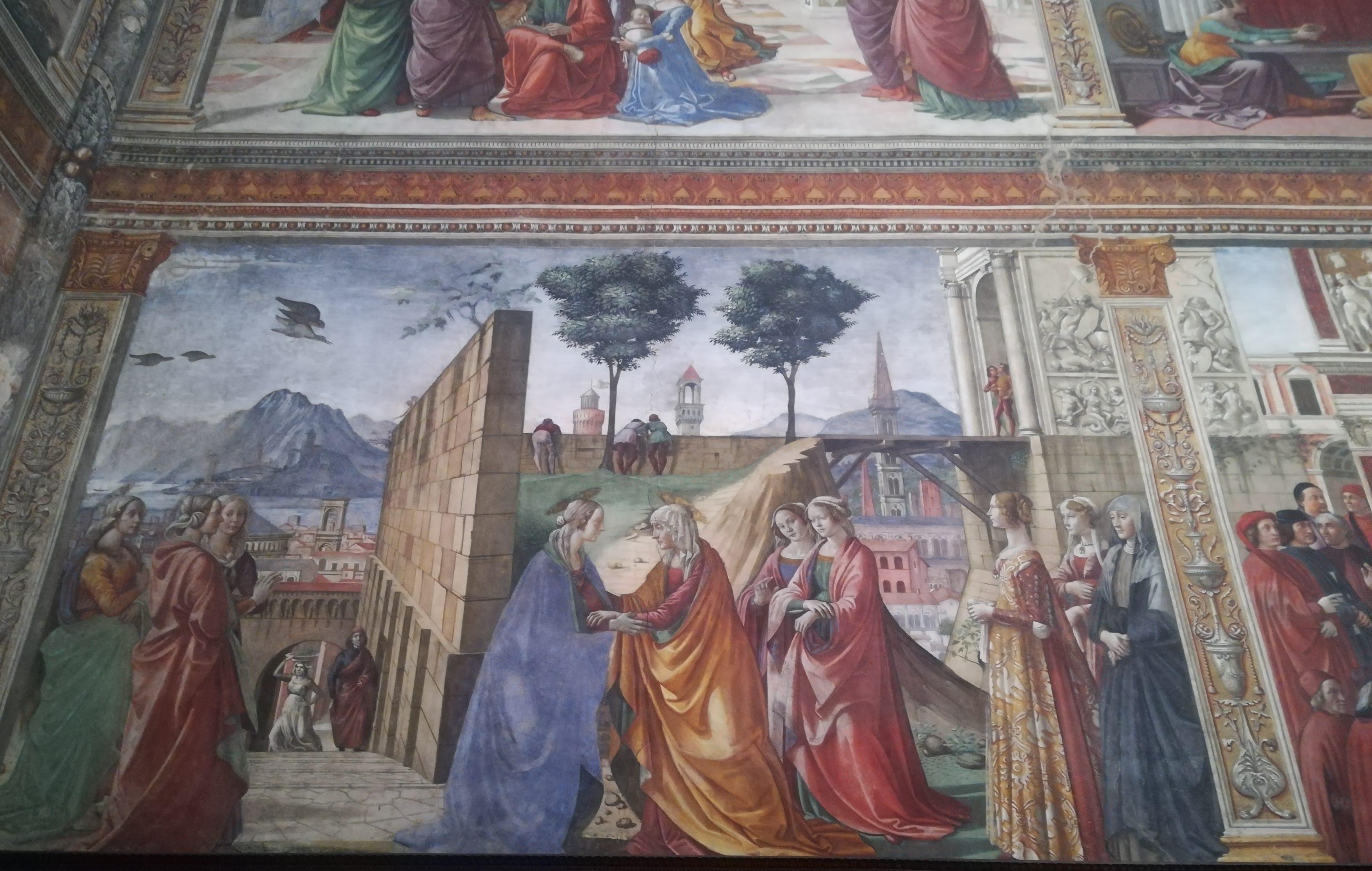 Affresco della Cappella Tornabuoni rappresentante la visitazione di Maria ad Elisabetta.