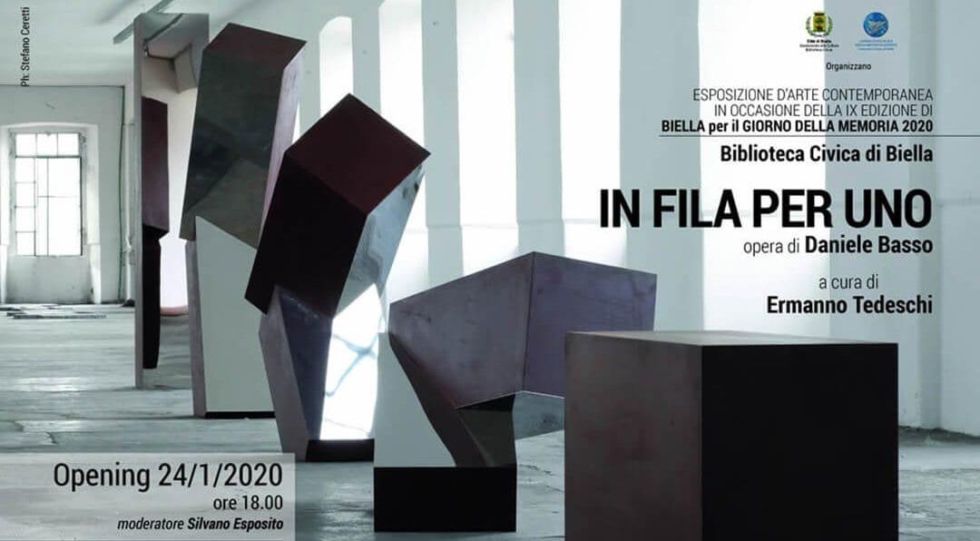 """""""IN FILA PER UNO"""" – l'opera dell'artista Daniele Basso in mostra presso la Biblioteca Civica di Biella"""
