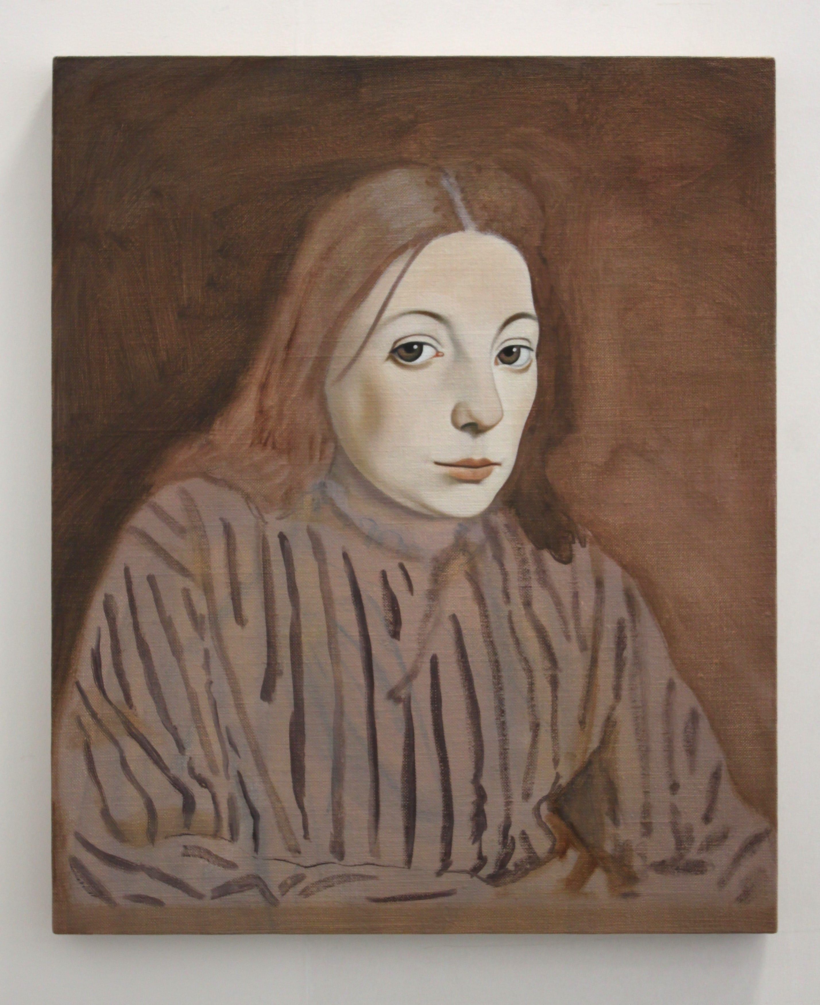 Figura di donna ritratta dall'artista Richard Wathen. Opera esposta nella mostra Madness presso la Galerie im Park di Brema. Il suo sguardo è espressione di gelosia morbosa.